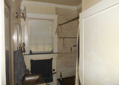 Residential bathroom with smoke and fire damage