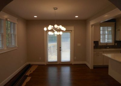 Dining room renovated after a fire damage