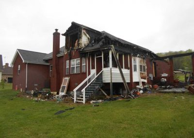 Brick house destroyed by a fire